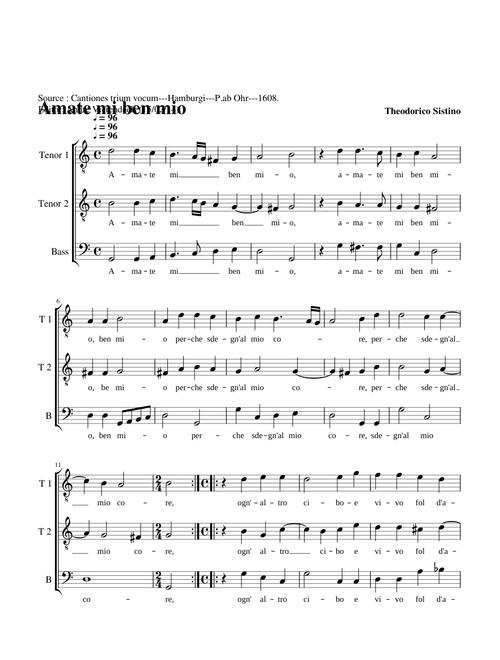 Amate mi ben mio Sheet music free download in PDF or MIDI on ...