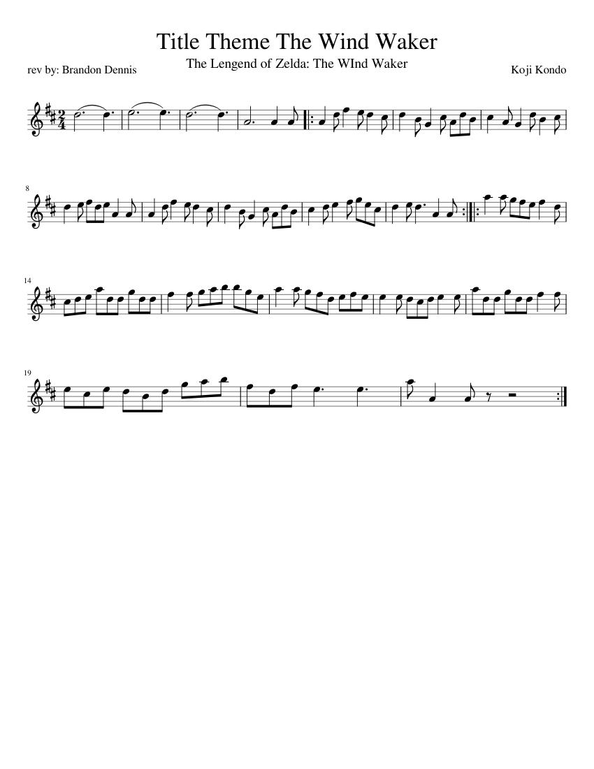 Title Theme The Wind Waker Violin Solo Sheet Music For Violin Solo Musescore Com
