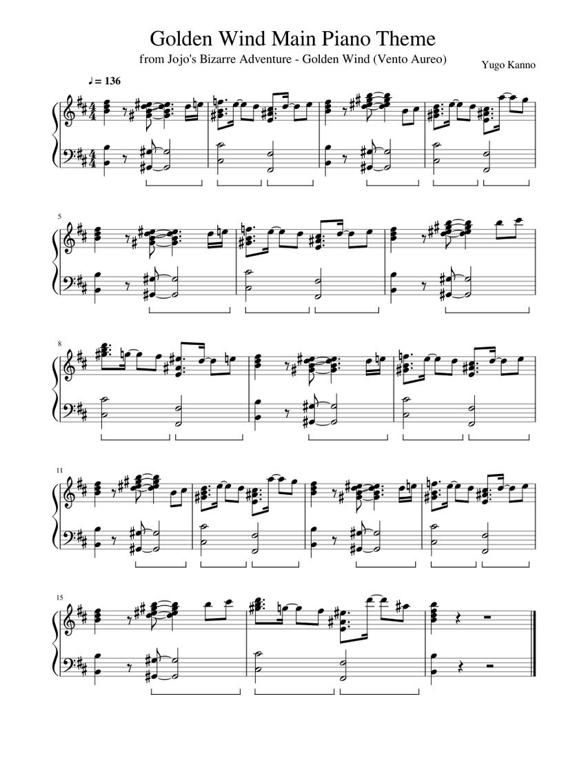 Golden Wind Main Piano Theme Sheet Music For Piano Download Free