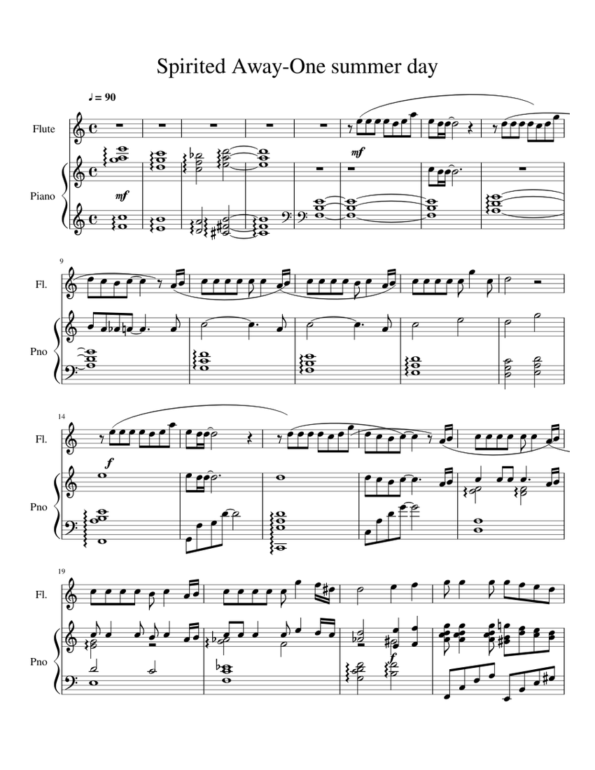 Spirited Away One Summers Day Flute And Piano Sheet Music For Piano Flute Solo Musescore Com