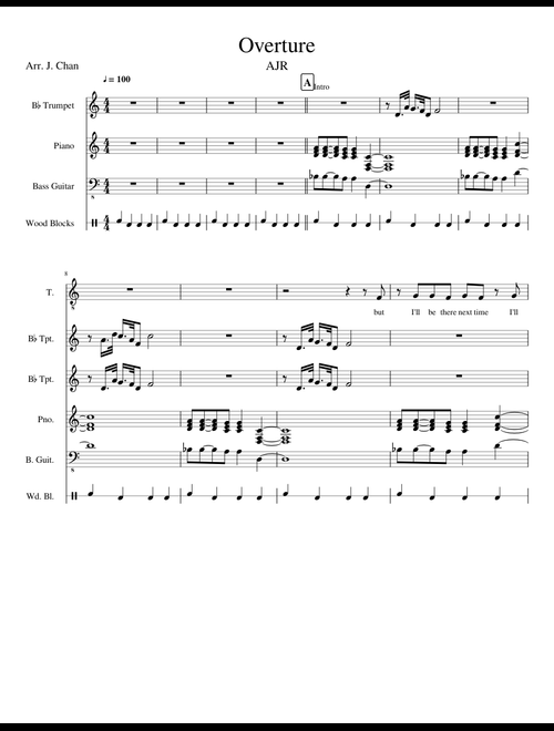 Overture (from the album Click) by AJR sheet music for
