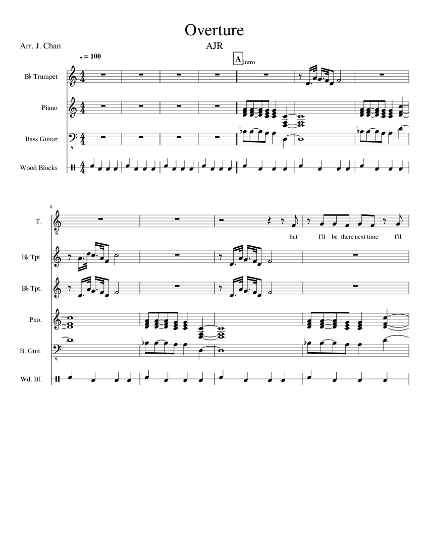 Overture (from the album Click) by AJR sheet music for Violin, Piano