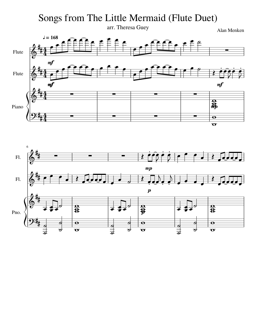 Songs from The Little Mermaid (Flute Duet) sheet music for ...