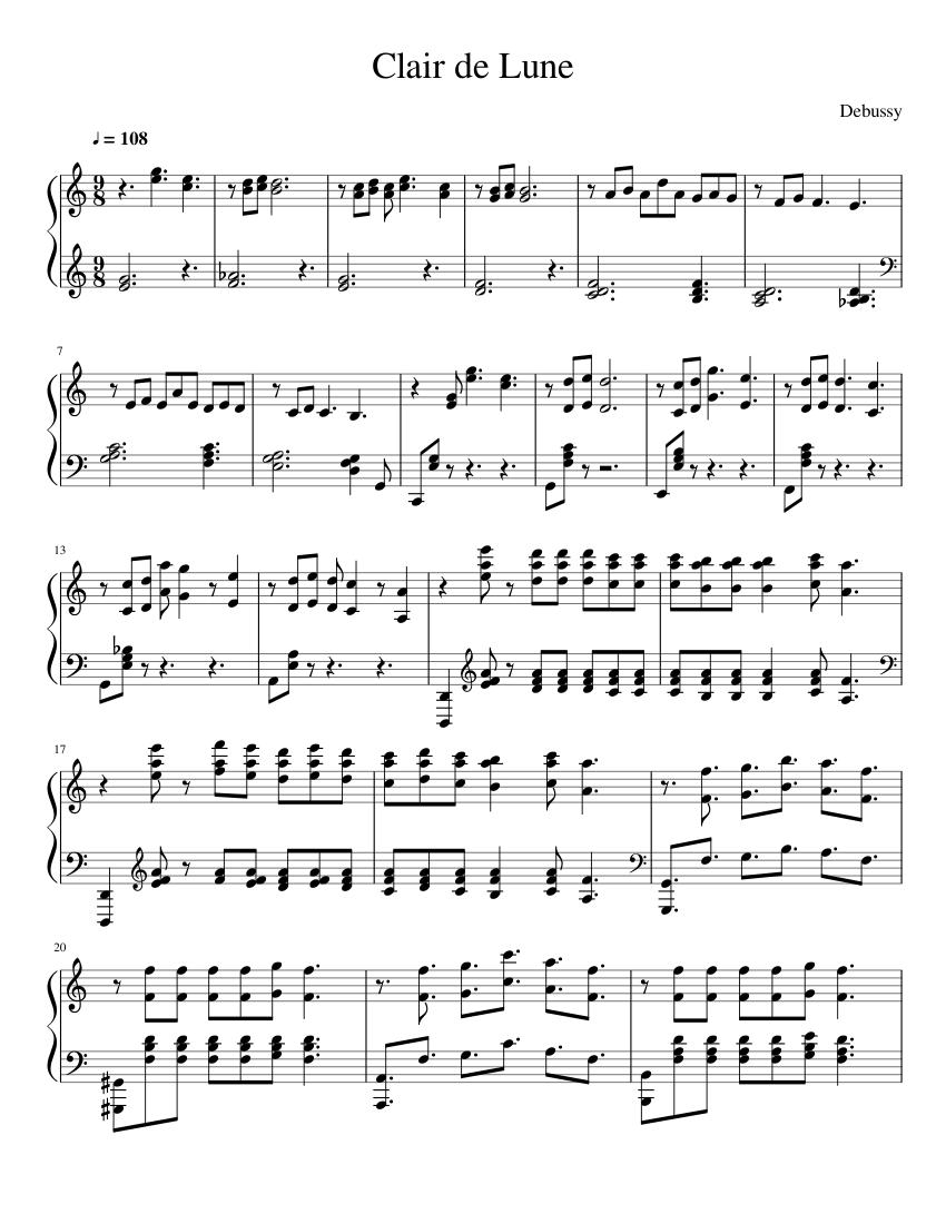 clair de lune easy piano sheet music free