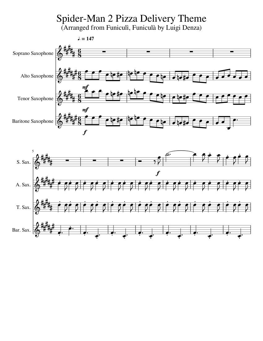 Spider Man 2 Pizza Delivery Theme Sax Quartet Sheet Music