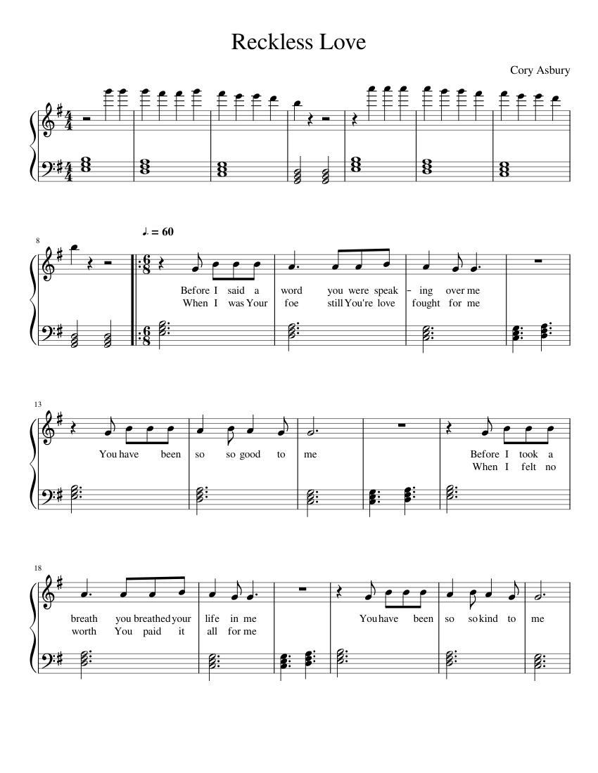 Reckless Love sheet music for Piano download free in PDF or MIDI