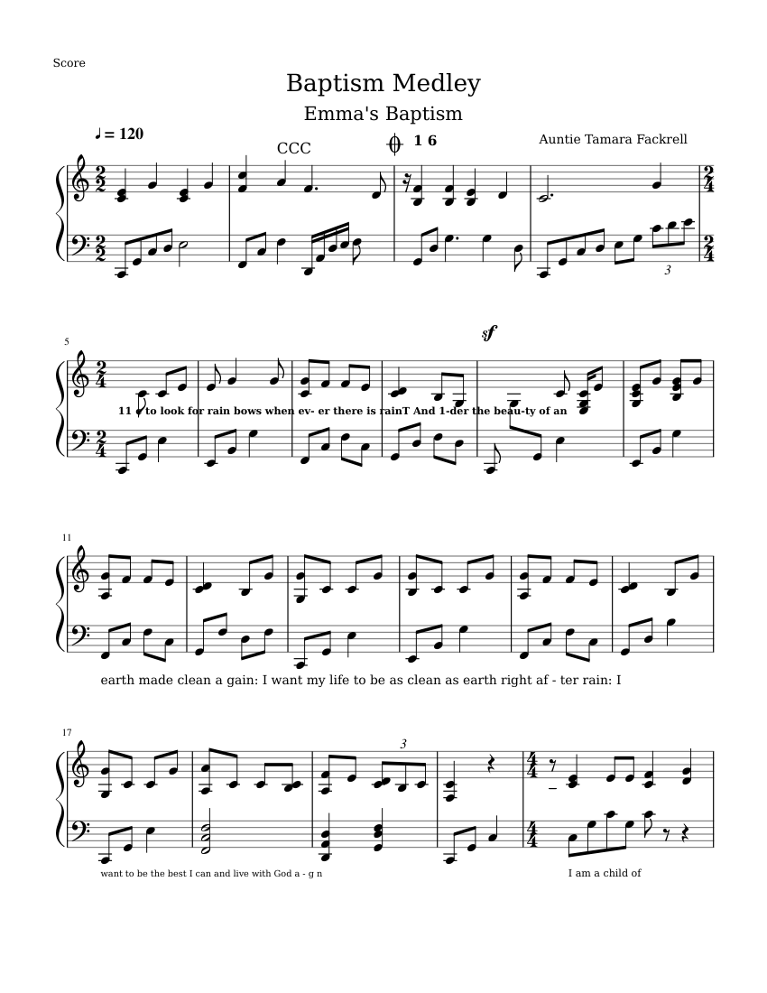 Lds Primary Song Medley Sheet Music
