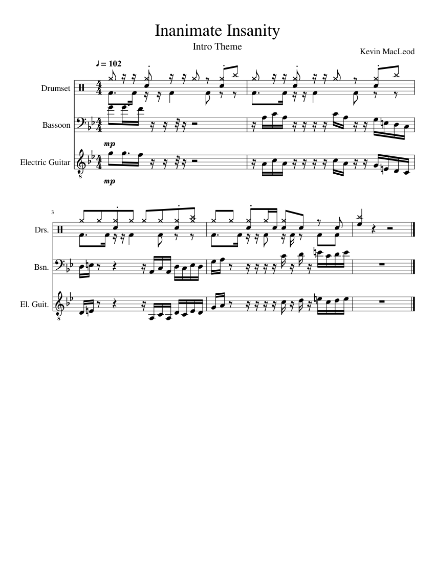 Inanimate Insanity sheet music for Percussion, Bassoon