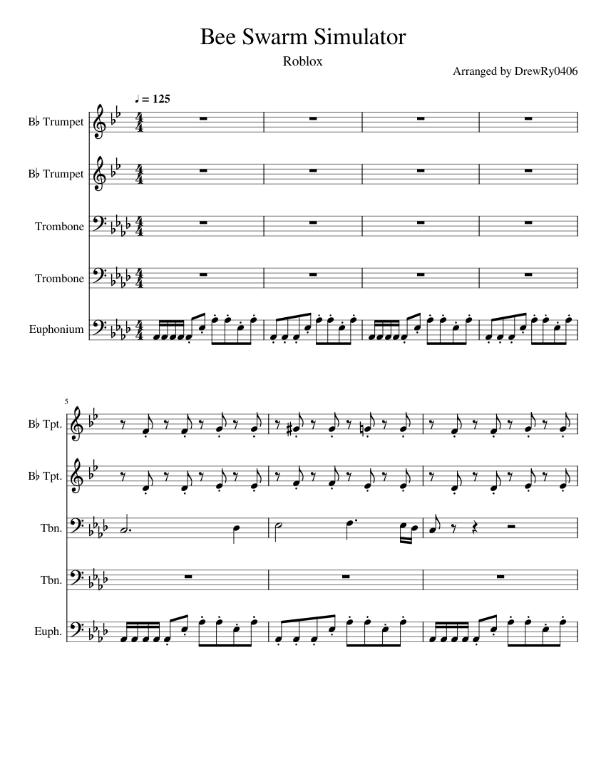 Bee Swarm Simulator Sheet Music For Trumpet Trombone Tuba
