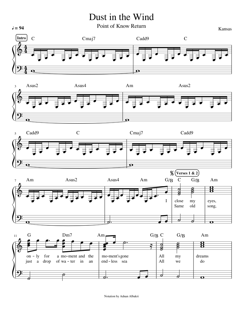 dust in the wind piano sheet music free