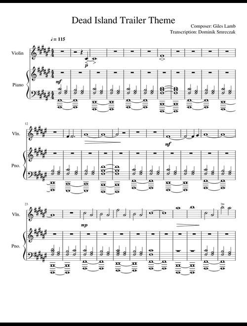 Dead Island Trailer Theme - Giles Lamb (Piano and Violin