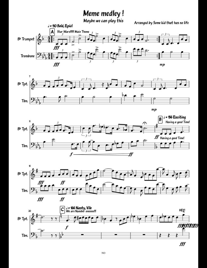 Meme medley sheet music for Trumpet, Trombone download ...