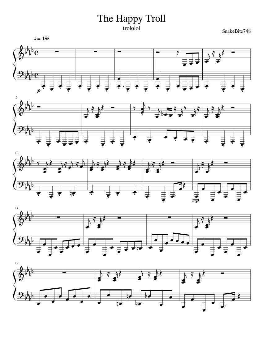 The Happy Troll sheet music for Piano download free in PDF