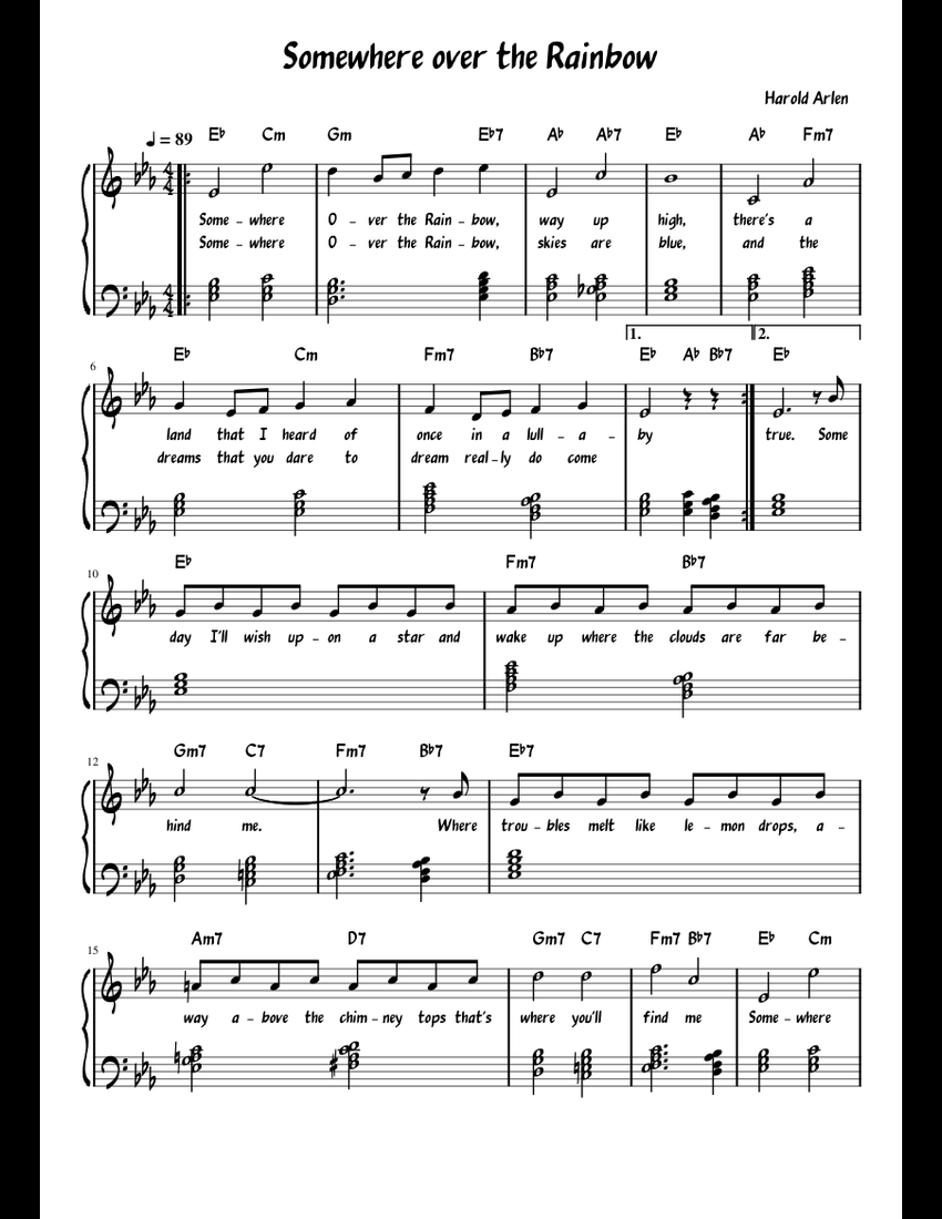 somewhere over the rainbow piano solo sheet music pdf