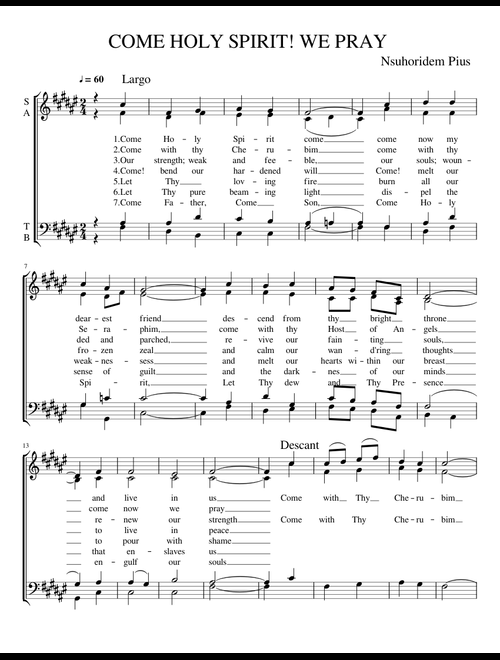 picture regarding Come Holy Spirit Prayer Printable titled Occur HOLY SPIRIT WE PRAY sheet new music for Voice obtain free of charge