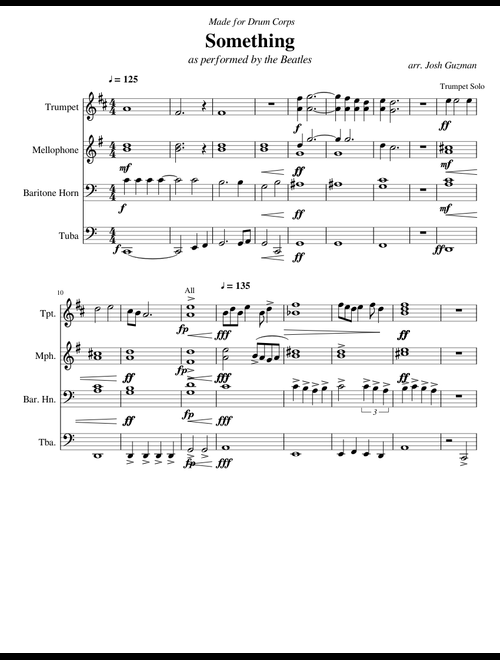 Something by the Beatles (for Drum Corps) sheet music for