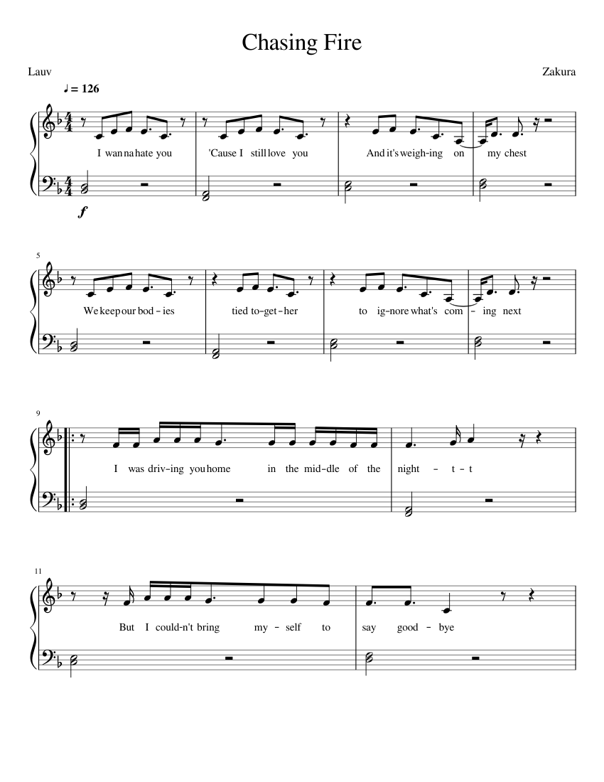Lauv - Chasing Fire sheet music for Piano download free in