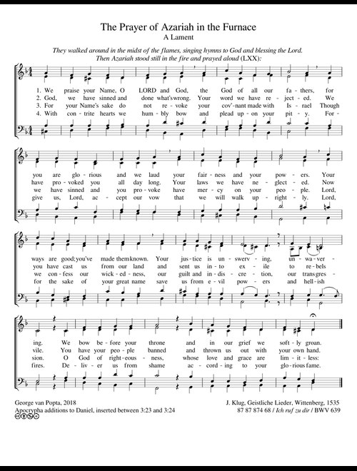 The Prayer of Azariah sheet music for Voice download free in
