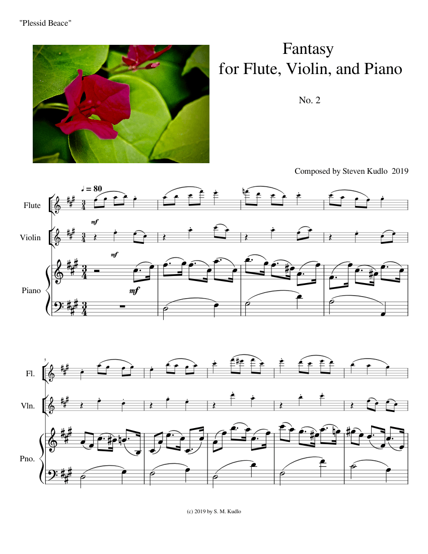Fantasy For Flute Violin And Piano No 2 Plessid Beace Sheet