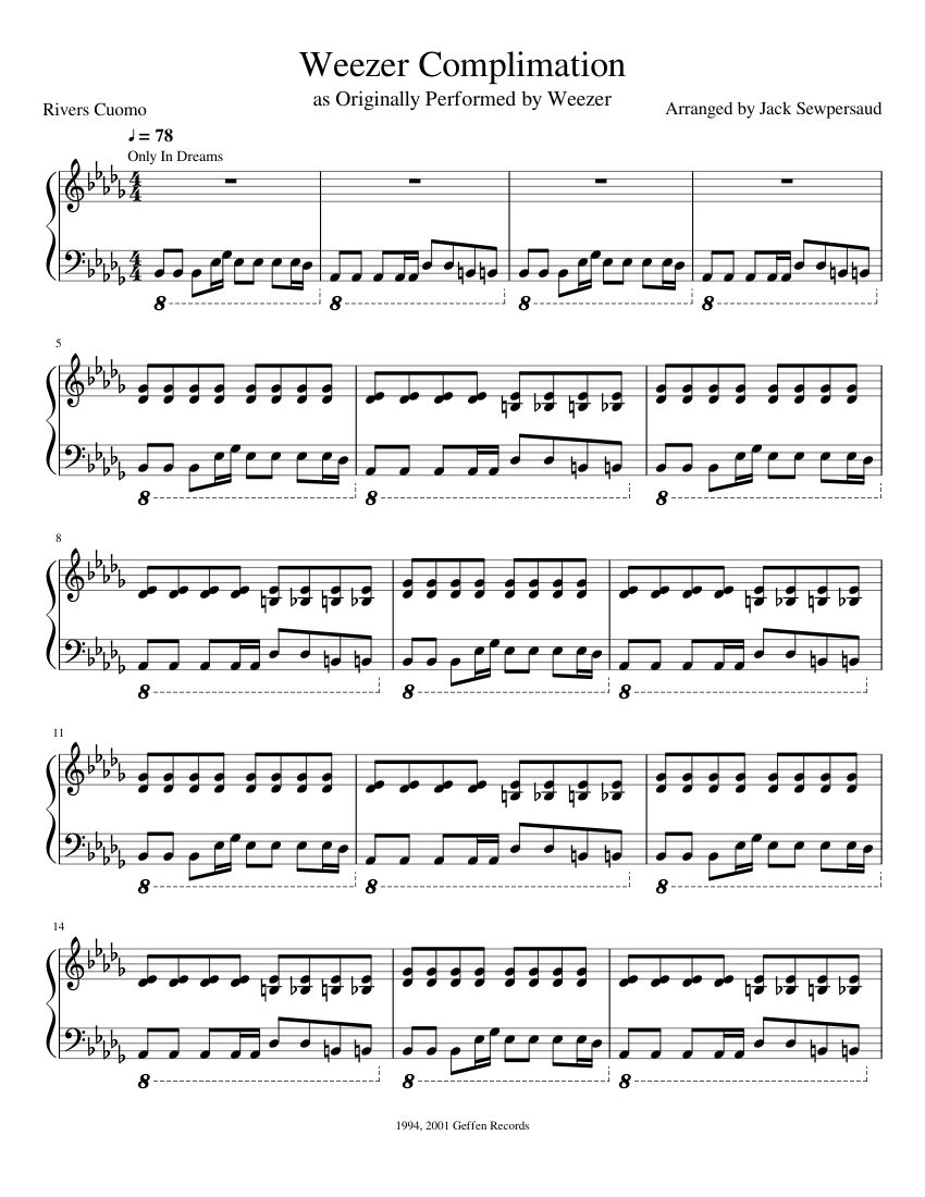 Weezer Complimation sheet music for Piano download free in