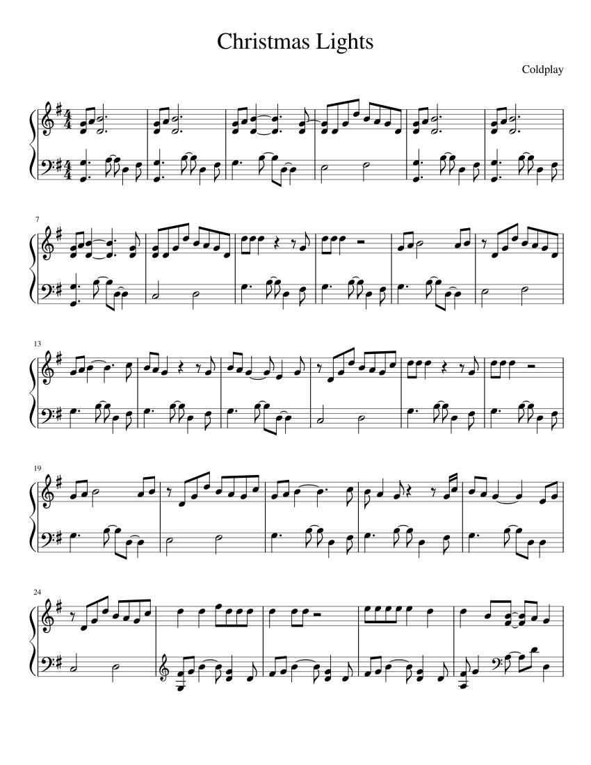 Christmas Lights Coldplay Piano Sheet Music Pdf Best Music Sheet
