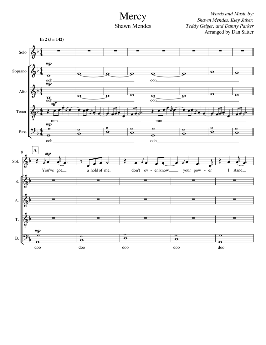 Mercy - Shawn Mendes (A Cappella) sheet music for Strings