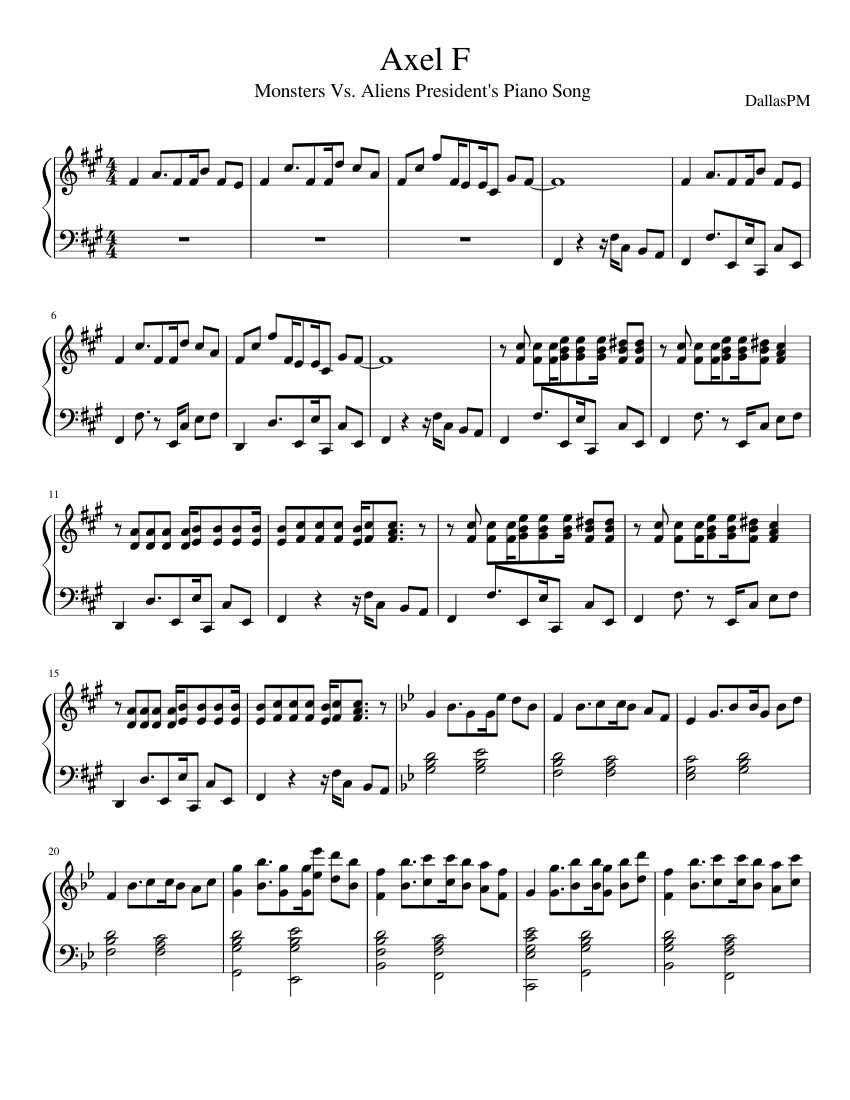 Axel F or Monsters Vs  Aliens President's Piano Song sheet