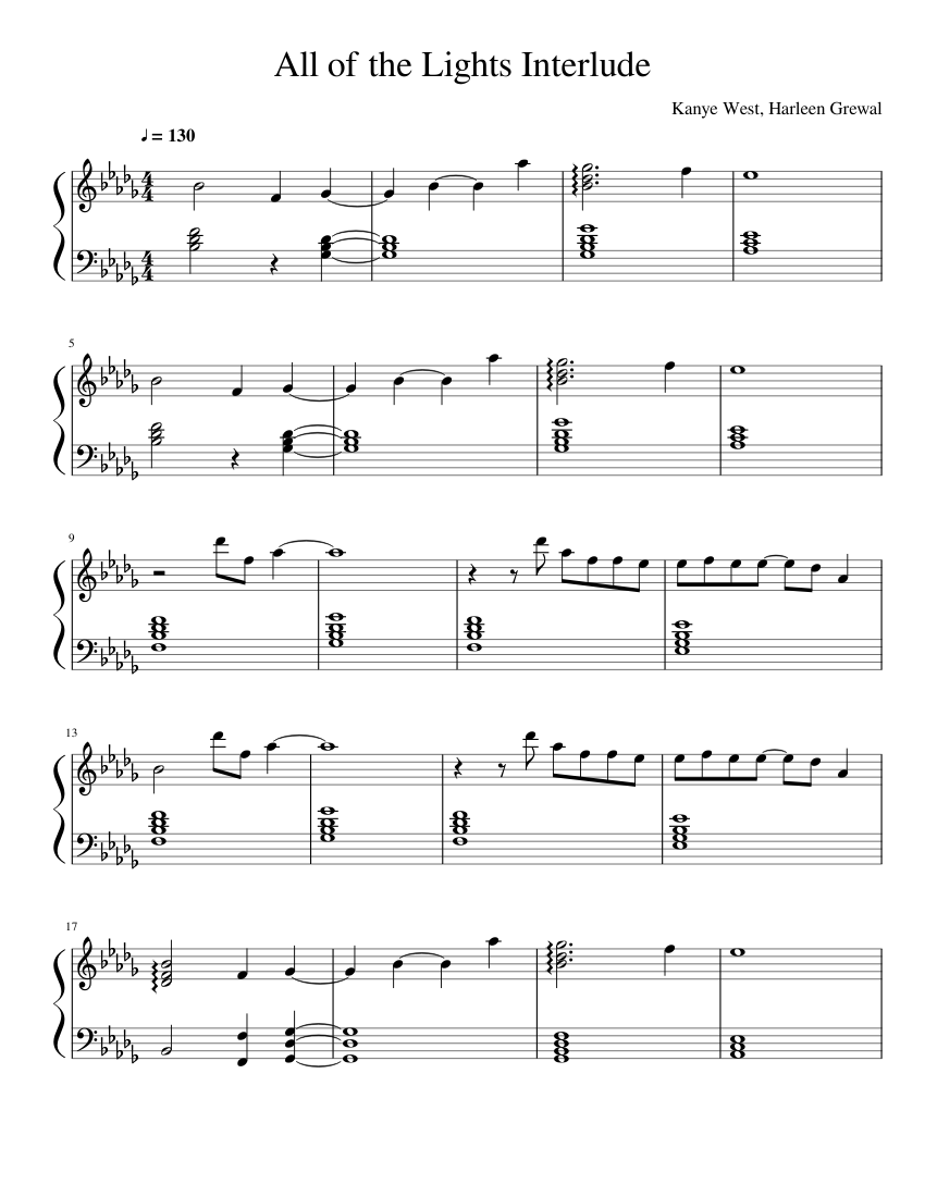 all of the lights violin sheet music free