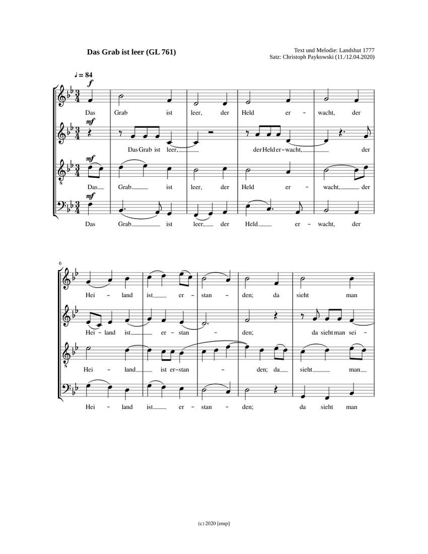 GL 761 Das Grab ist leer [emp] Sheet music | Musescore.com
