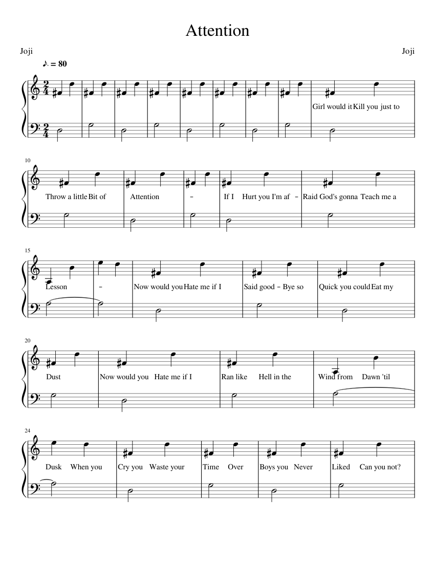 Attention Joji sheet music for Piano download free in PDF or