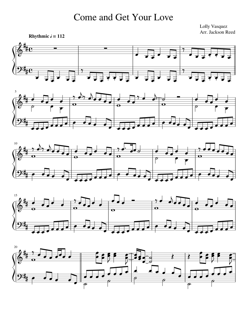 Come and Get Your Love sheet music for Piano download free in PDF or