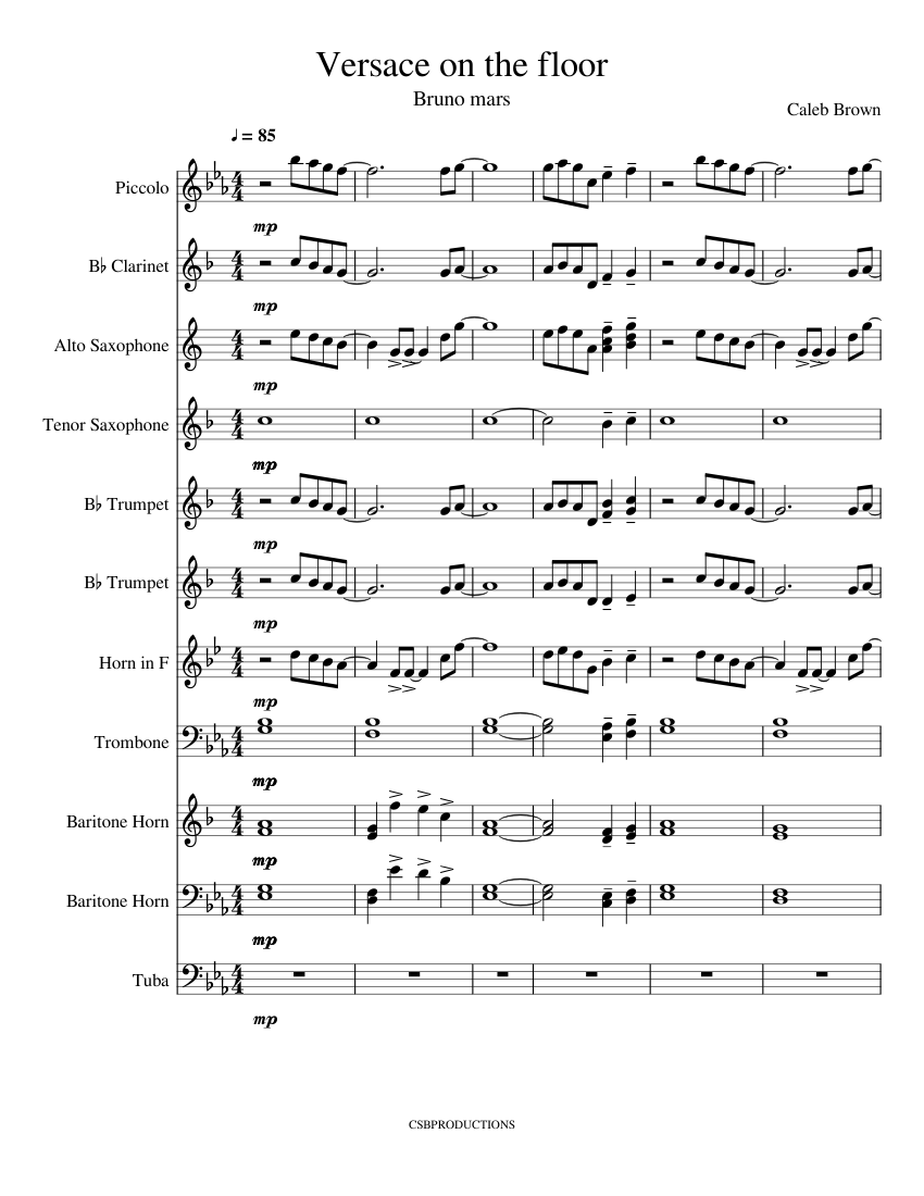 Versace On The Floor Sheet Music For Clarinet Piccolo