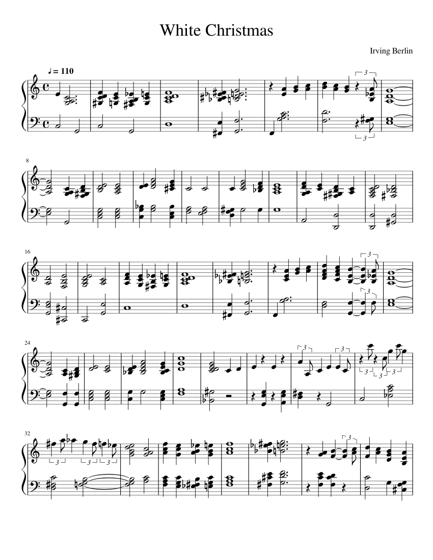 White Christmas sheet music for Piano download free in PDF or MIDI