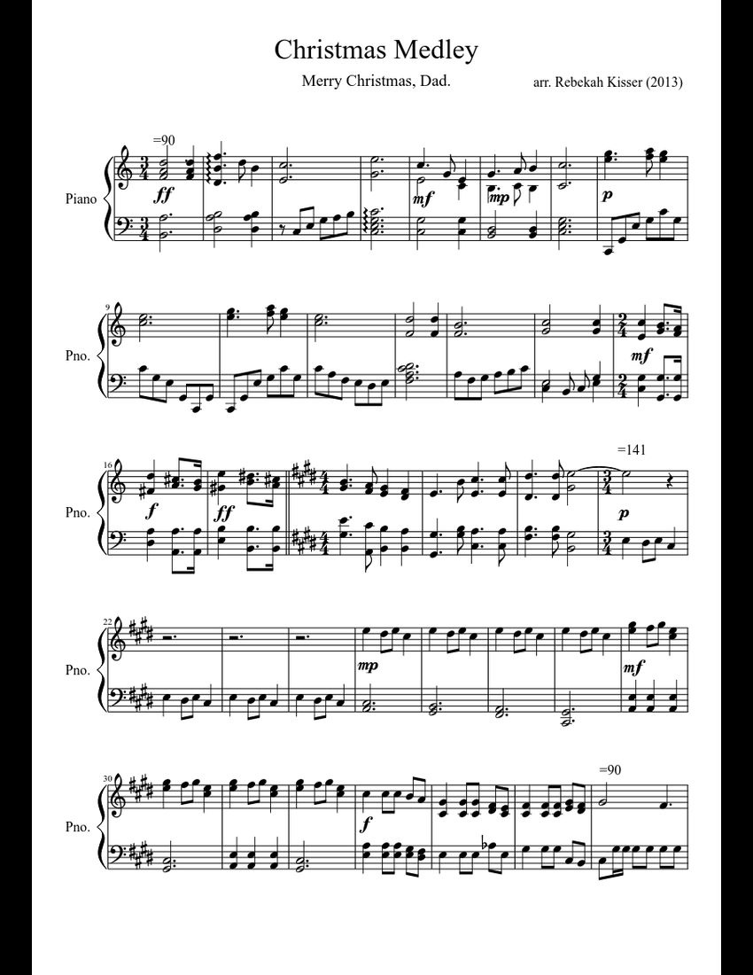 Christmas Medley for Dad sheet music for Piano download free in PDF or MIDI
