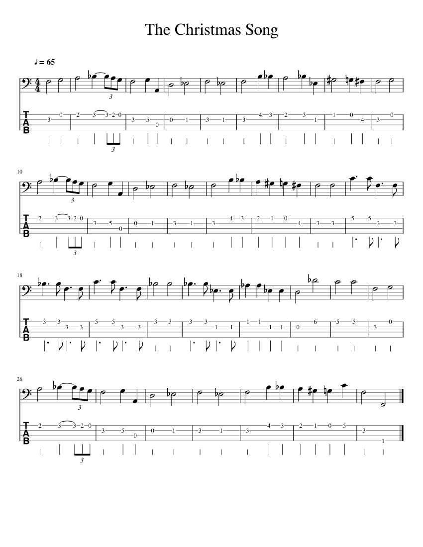 The Christmas Song by Nat King Cole Bass Guitar sheet music for Bass download free in PDF or MIDI