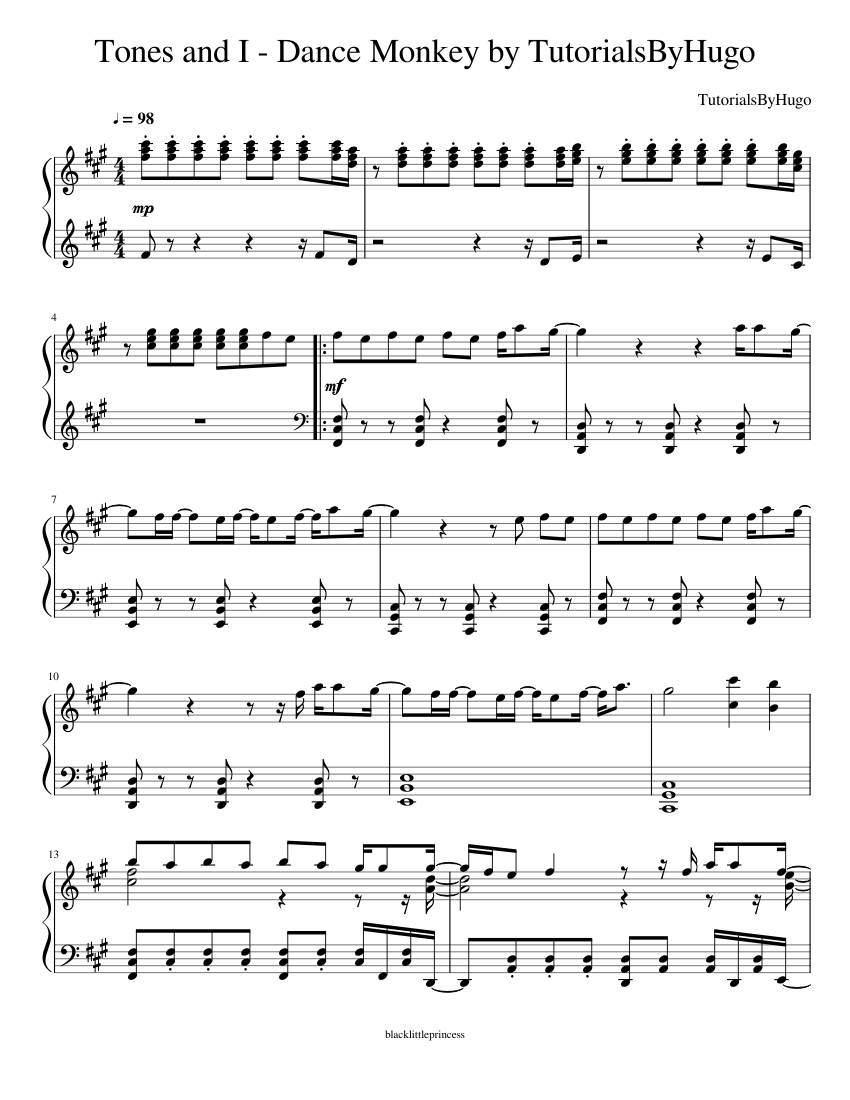 Tones And I Dance Monkey By Tutorialsbyhugo Sheet Music For Piano Solo Musescore Com