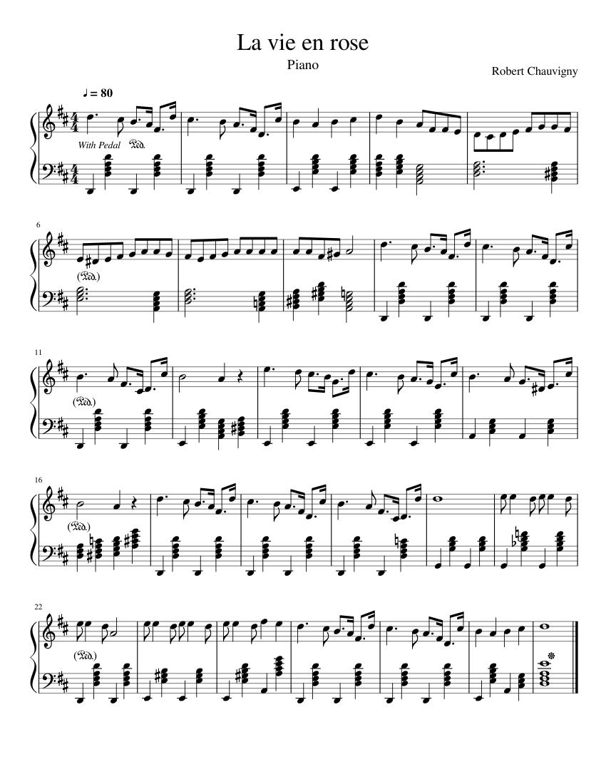 la vie en rose piano sheet music pdf free
