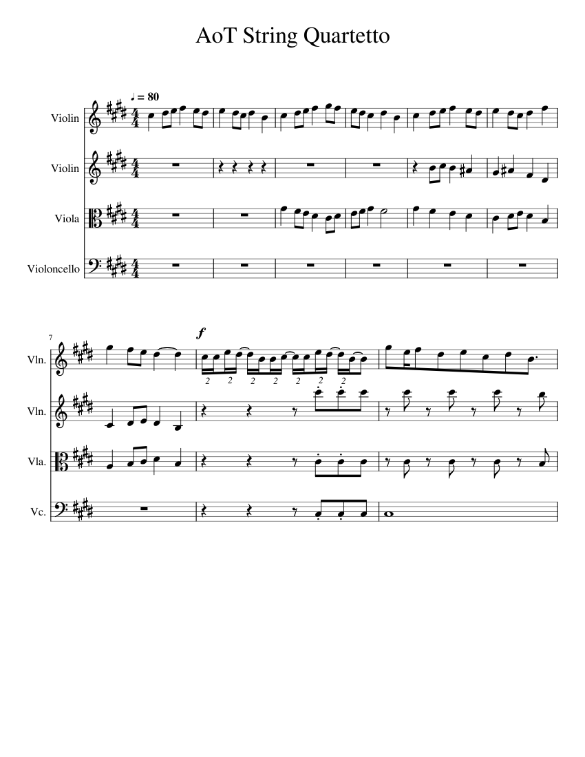 Attack on Titan Opening 1 (Guren No Yumiya) Sheet music for Violin, Viola, Cello | Download free ...