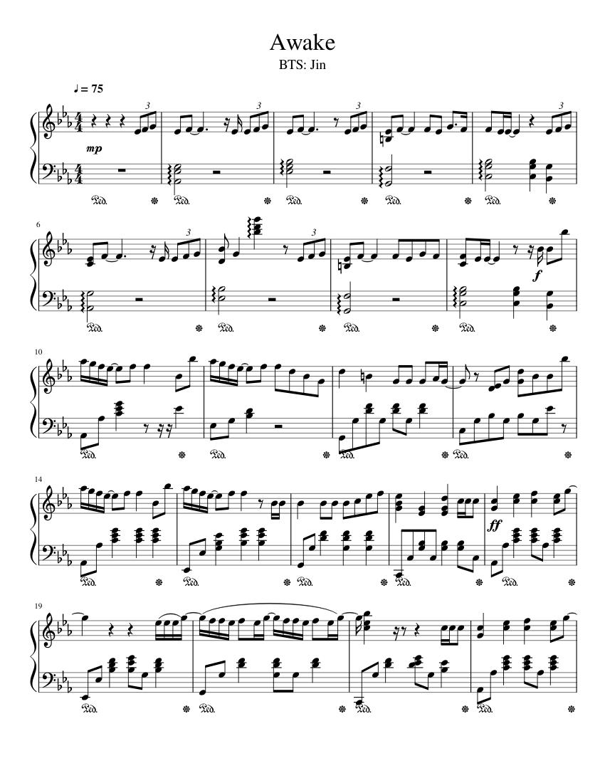 BTS Jin: Awake sheet music for Piano download free in PDF or