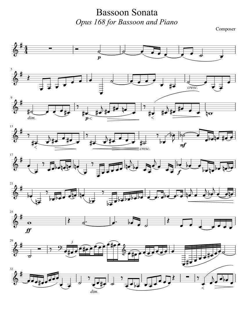Bassoon Sonata, Op. 168 - Piano Score