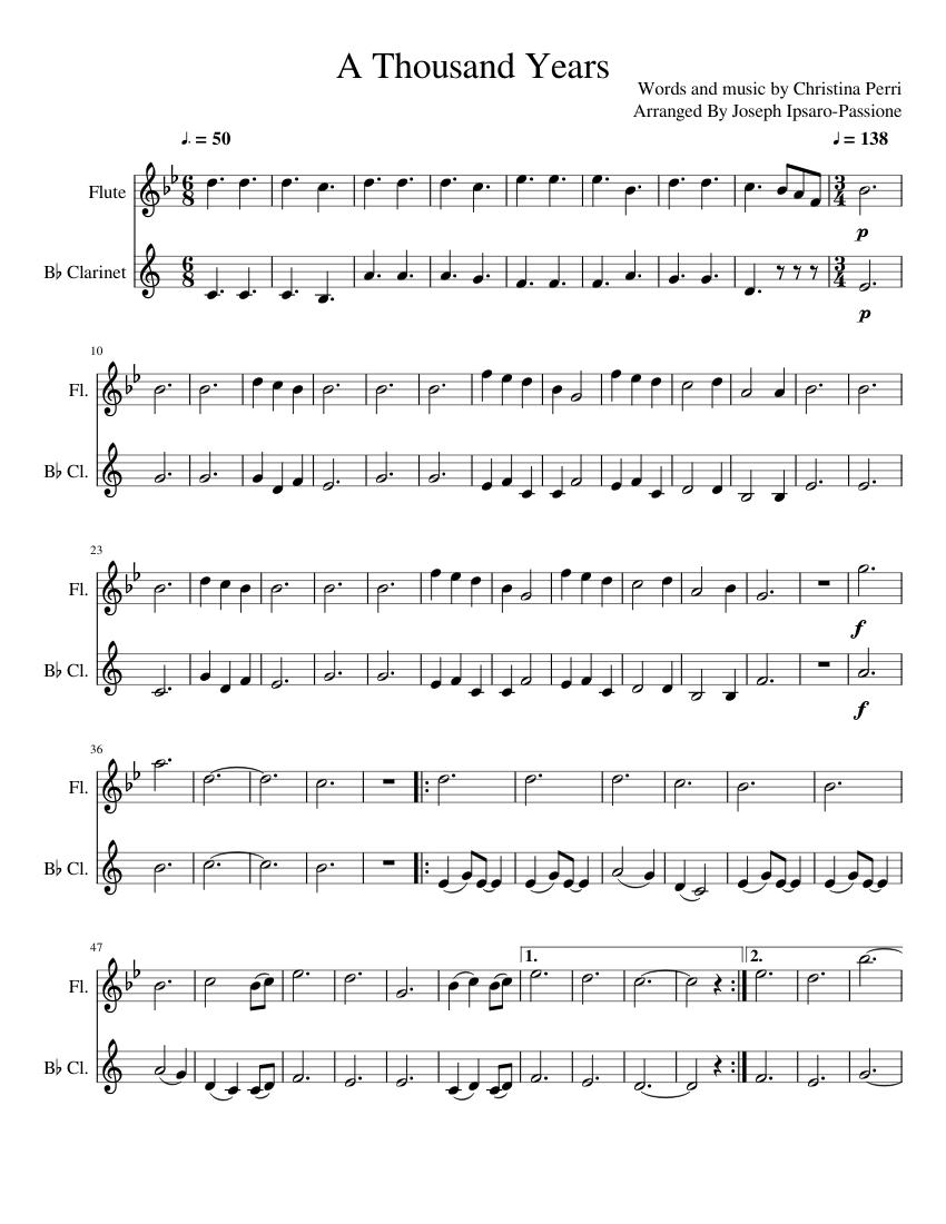 a thousand years flute sheet music free pdf