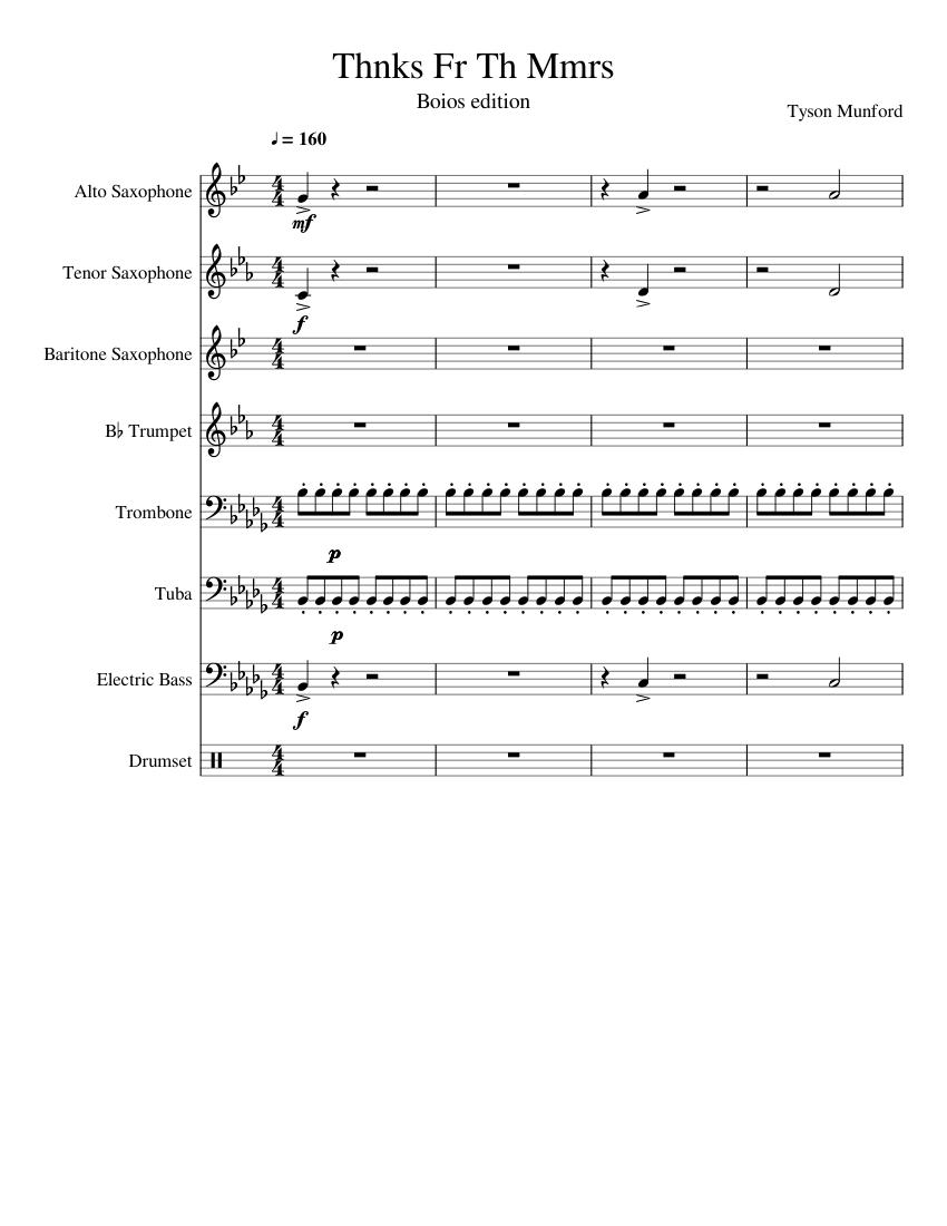Thnks Fr Th Mmrs (BOIOS EDITION MY DUDES sheet music for Alto ...