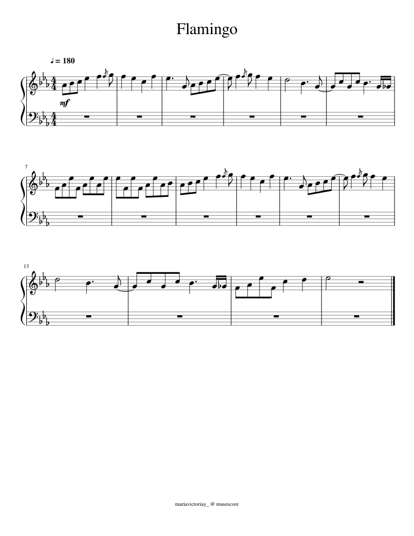 Flamingo - Kero Kero Bonito (intro) sheet music for Piano