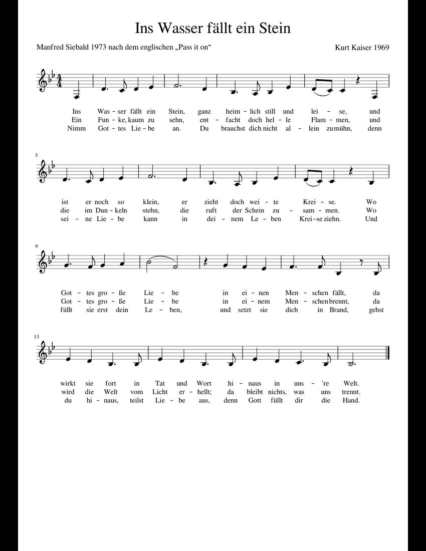 Ins Wasser Fällt Ein Stein sheet music for Voice download