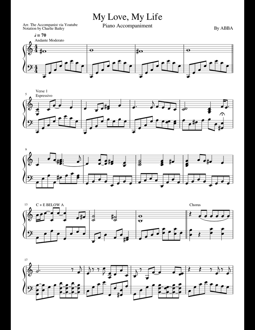 My Love My Life sheet music for Piano download free in PDF
