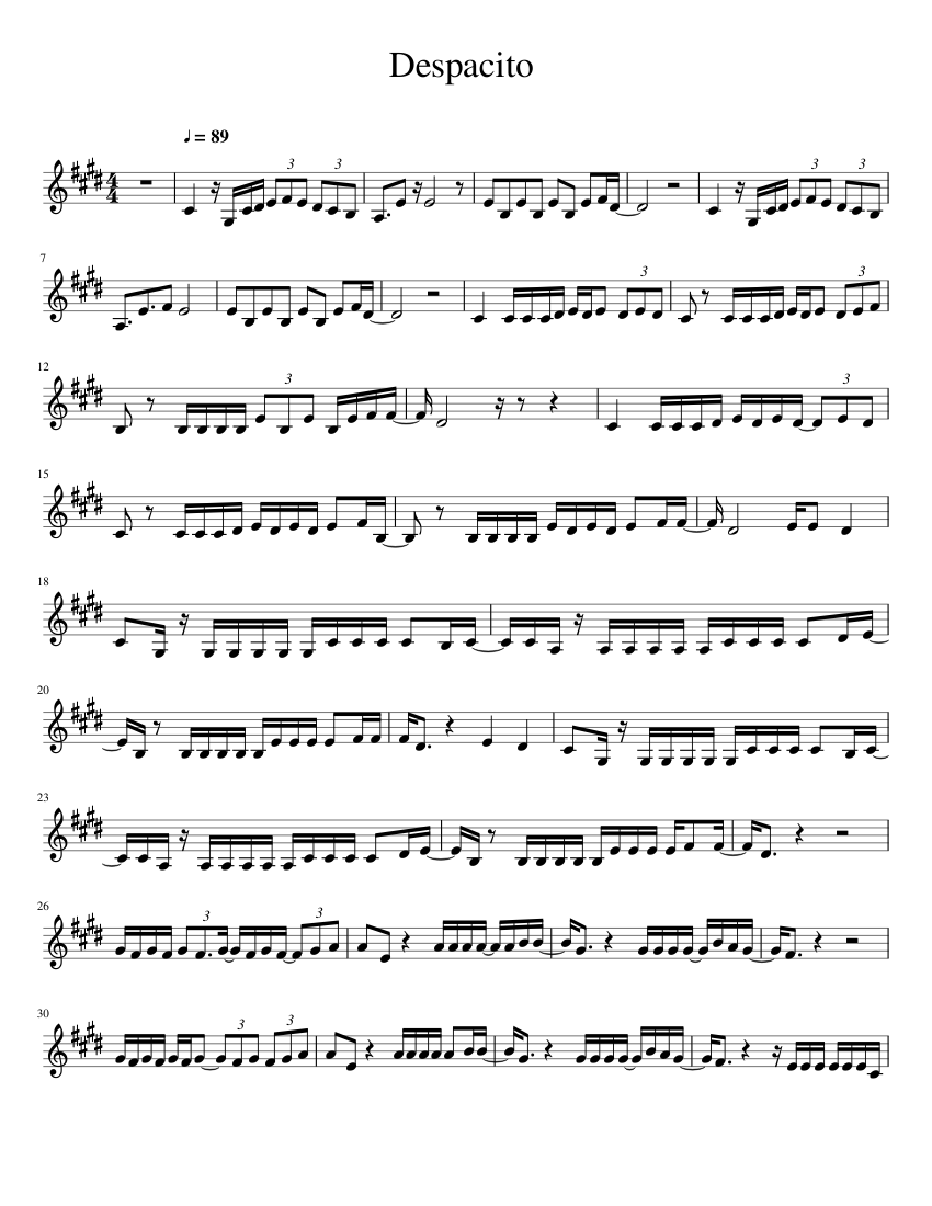 Despacito Trumpet Sheet Music For Trumpet Download Free In