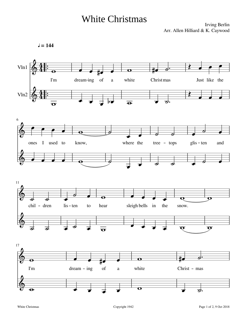 White Christmas sheet music for Violin download free in PDF or MIDI
