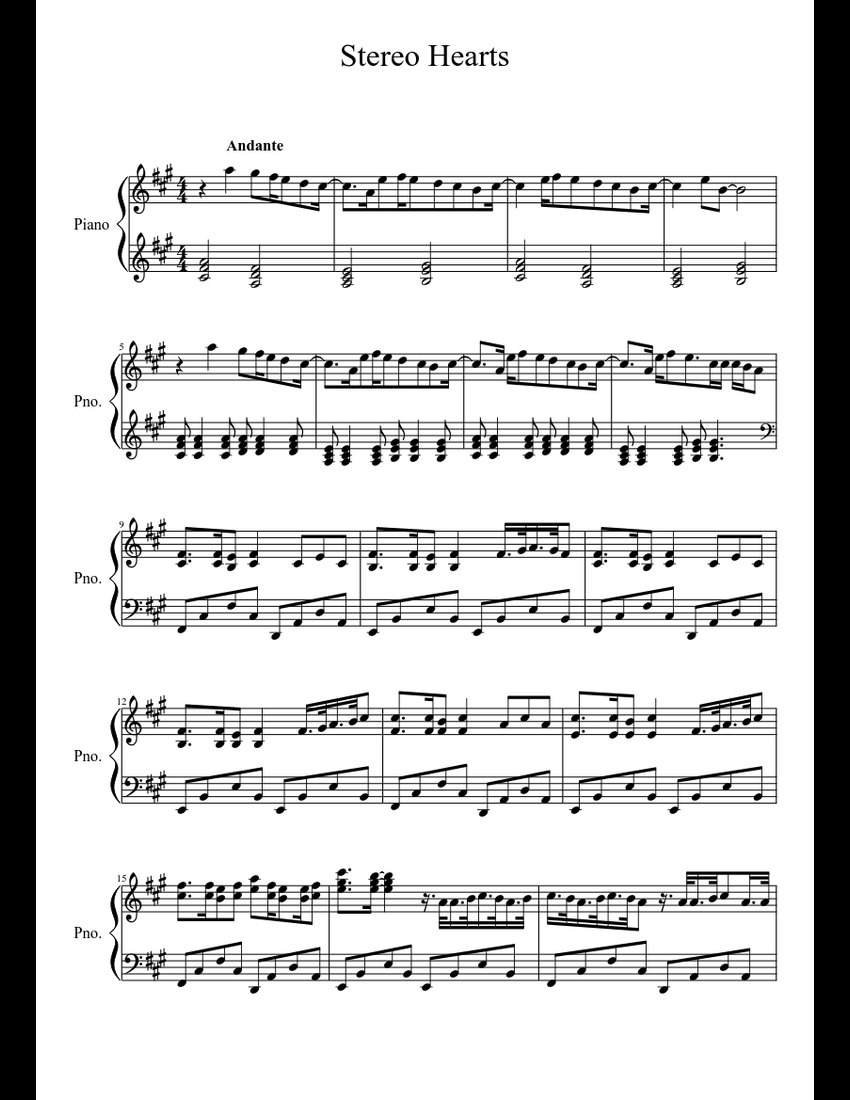 Stereo Hearts sheet music download free in PDF or MIDI