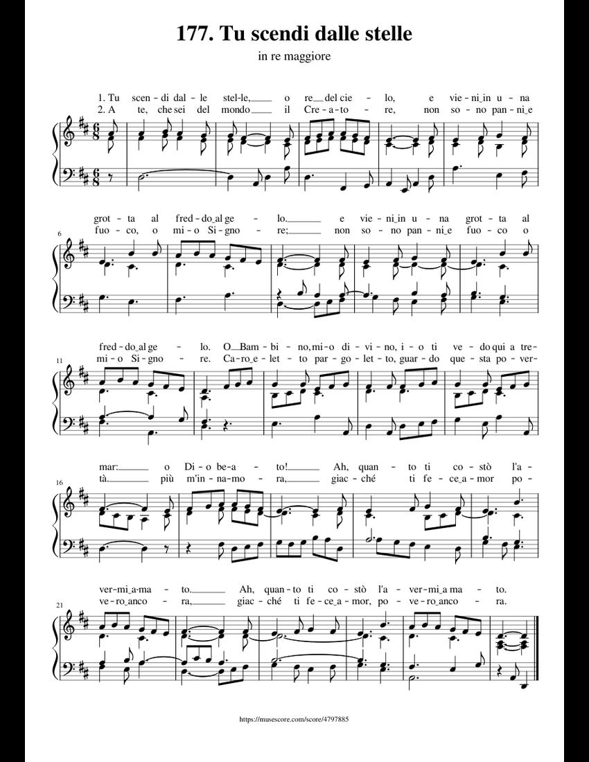 177  tu scendi dalle stelle sheet music for organ download free in pdf or midi