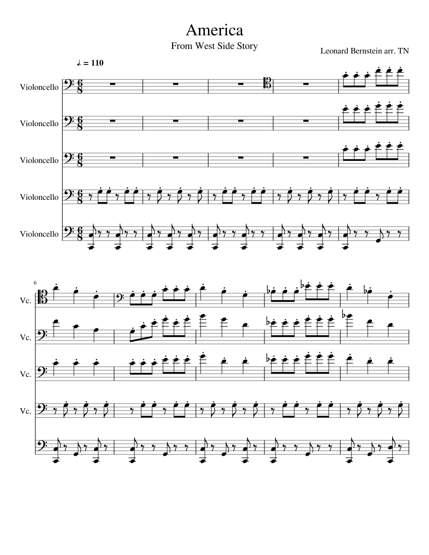 Cello choir america arranged America from West Side Story ...